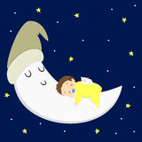 Baby Boy and Cat Sleeping on the Moon Stock Photography