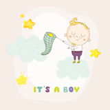 Baby Boy Catching Stars on a Cloud - Baby Shower Card Royalty Free Stock Photo