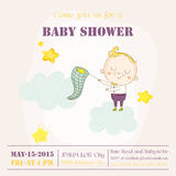 Baby Boy Catching Stars on a Cloud - Baby Shower Card Royalty Free Stock Images