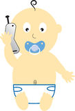 Baby Boy Cell Phone Stock Image