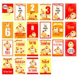 Baby boy with chicken costume milestone card Royalty Free Stock Photography