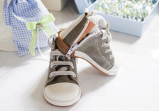 Baby boy christening shoes Stock Images