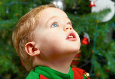 Baby boy on Christmas Stock Photo