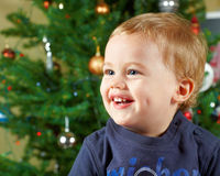 Baby boy on Christmas Stock Images