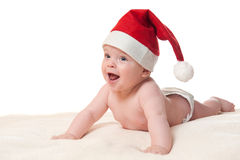 Baby boy in christmas hat Royalty Free Stock Photos