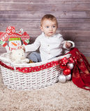 Baby boy Christmas portrait Royalty Free Stock Image