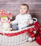 Baby boy Christmas portrait Royalty Free Stock Image