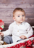 Baby boy Christmas portrait Stock Images