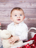 Baby boy Christmas portrait Stock Photography