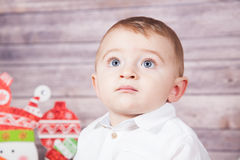Baby boy Christmas portrait Royalty Free Stock Photos