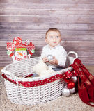 Baby boy Christmas portrait Stock Photo