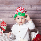 Baby boy Christmas portrait Stock Image