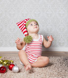 Baby boy Christmas portrait Stock Photos