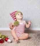 Baby boy Christmas portrait Stock Photos