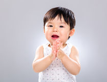 Baby boy clapping hand Stock Photos