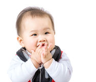 Baby boy clapping royalty free stock images