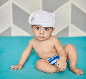 Baby boy in cloth diaper Stock Photography