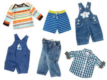 Baby boy clothes collage. Male kid`s wear set. Baby boy clothes isolated collage.Child`s kid`s fashion jeans and cotton clothing set.Stylish male infant wear stock photos