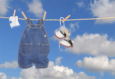 Baby Boy Clothes Hanging Outdoors Royalty Free Stock Image