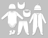 Baby boy clothes. Set flat sketch  on grey background Stock Images
