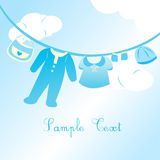 Baby boy clothing card Stock Photography