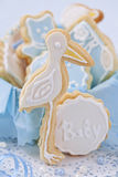 Baby boy cookies. In a box stock images