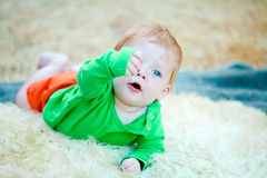 Baby boy crawling Royalty Free Stock Images