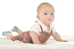 Baby boy crawling on blanket Stock Photography