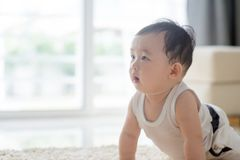 Baby crawling on carpet. Royalty Free Stock Photos