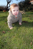 Baby boy crawling on grass Royalty Free Stock Photography