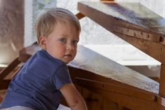 Baby boy crawling up the stairs. Cute toddler looking at camera royalty free stock images