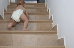 Baby boy crawling up the stairs Royalty Free Stock Image