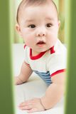 Baby boy in crib looking through a safety fence. Baby boy in striped clothes in crib looking through a safety fence stock image