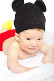 Baby boy in crochet costume Royalty Free Stock Photos