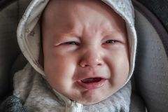 Baby boy crying. Emotional face expression of unhappy small child Royalty Free Stock Photo