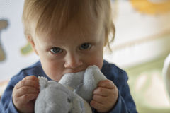 Baby boy with cuddly toy Royalty Free Stock Image