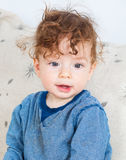 Baby boy with curly hair Royalty Free Stock Photos