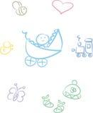 baby boy cute doodle set Arkivbild
