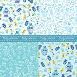 Baby boy cute seamless pattern set.Sleep newborn items collectio Stock Photos