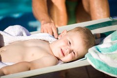 Baby Boy in deckchair Royalty Free Stock Photo