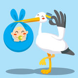Baby Boy Delivery. Stork with hat carrying a newborn baby boy on a blue blanket stock illustration
