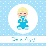 Baby Boy Design. Cute illustration design of newborn baby boy in blue onesie sitting with text it's a boy Stock Images