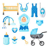 Baby boy design elements vector collection on white Stock Image