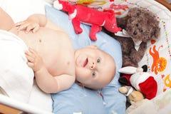 Baby boy in diaper Stock Photos