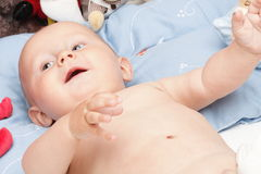 Baby boy in diaper Stock Photo