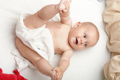 Baby boy in diaper Royalty Free Stock Photography
