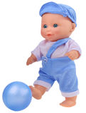 Baby boy doll playing football Stock Image