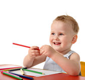 Baby boy drawing Royalty Free Stock Photography