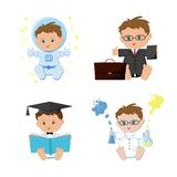 Baby boy dream jobs, professions set. Astronaut, businessmen, teacher, scientist kids.
