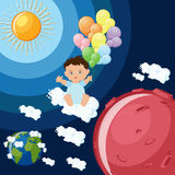 Baby boy dreams to fly to Mars on clouds and balloons. Space colonization cartoon style concept. Astronomy education for kids. Vector illustration in flat Stock Photography